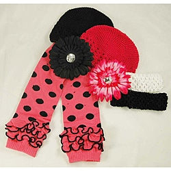 Ashlyn Rose Pink Polka Dot Baby Girl Leg Warmers and Hat Gift Set