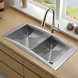 Vigo 36-inch Topmount Stainless Steel Double Bowl Kitchen Sink and Faucet