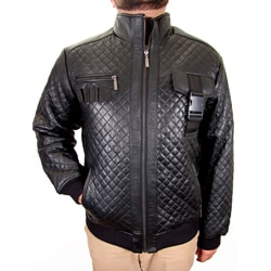 Hudson Outerwear Men's Black Leather Quilted Jacket