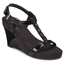 A2 by Aerosoles Women's 'Rose Plush' Black Patent Wedge Sandals