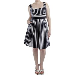 White  Dress on Corey P Women S Navy  White Striped Cotton Sundress   Overstock Com
