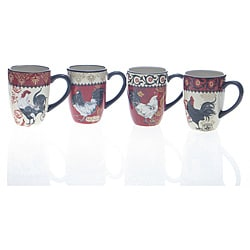Certified International La Provence Rooster 20-ounce Mugs (Set of 4)