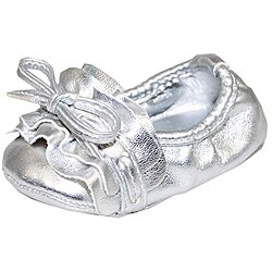 Baby Girl Silver Glam Fashion Crib Shoes