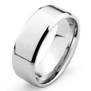 West Coast Jewelry Stainless Steel Men's Flat Band Ring