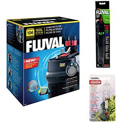 Fluval 106 Canister Filter With E 100 Heater and Thermometer