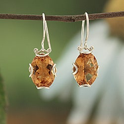 Sterling Silver Citrine Filigree Bali Earrings (Indonesia)