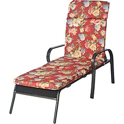 Ali Patio Polyester Crimson Red Floral Smooth Edge Hi-back Outdoor Chaise Lounge Cushion