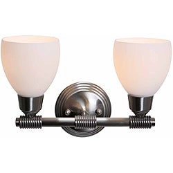 Grek Brushed Steel Finish Opal Glass 2-light Wall Sconce