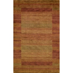 Hand-loomed Loft Rust Gabbeh Wool Border Rug (7'6 x 9'6)