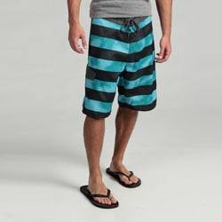 Burnside Men's Teal Striped Boardshorts