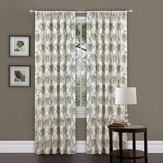 Lush Decor Beige/ Black 84-inch Oxford Curtain Panel