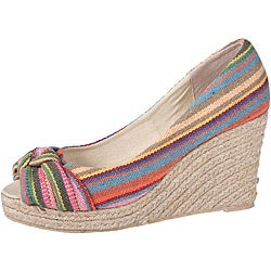 Refresh by Beston Women's 'Kelly' Rainbow Peep-Toe Espadrilles