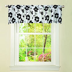 Lush Decor White/ Black Garden Blossom Valance