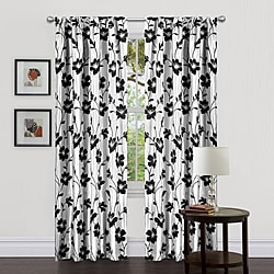 Lush Decor White/ Black 84-inch Garden Blossom Curtain Panels (Set of 2)
