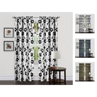 Lush Decor Green/ Brown 84-inch Garden Blossom Curtain Panels (Set of 2)