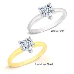 14k Gold 1/2ct TDW Heart Diamond Solitaire Engagement Ring (I-J, I1)