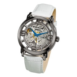 Stuhrling Original Men&#39;s Winchester 44 Skeleton Automatic White Leather Strap Watch