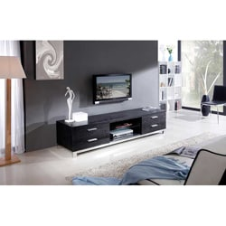 Natasha Black Oak/ Stainless Steel Modern TV Stand