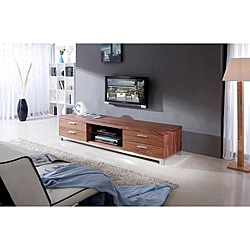 Natasha Light Walnut/ Stainless Steel Modern TV Stand