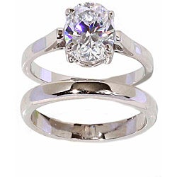 NEXTE Jewelry Silvertone Oval Cut Solitaire Ring and Band