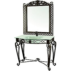 Decolav Wrought Iron Vanity with Sink and Matching Mirror