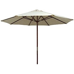 Premium Natural White Leather Tipped Market Umbrella