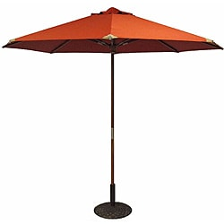 Tuscan Orange Leather Tipped Market Umbrella with 50-pound Base