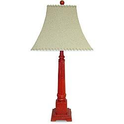 Burlap Shade Red Square 1-light Wood Lamp
