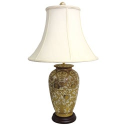 Round Cream/ Gold Scrolls 1-light Porcelain Jar Lamp
