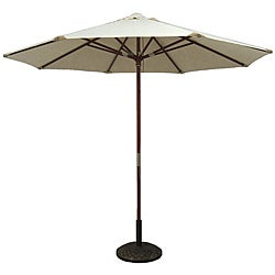 Natural White Leather Tip Market Umbrella with 50-pound Stand