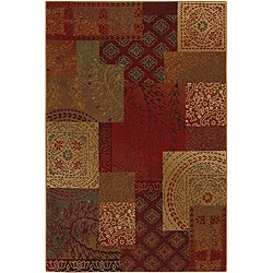 Country Quilt Earth Blast Brown Rug (5'3 x 7'10)