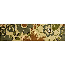 Mohawk Home Maine Tan Floral Rug (2' x 8')