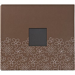 American Crafts Brown Embroidered Flower Postbound Photo Album