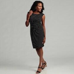 Connected Apparel Women's Black/ White Polka-dot Dress