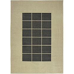 Tufted Sisal Printed Indoor/ Outdoor Grey Blocks Rug (5' x 7')