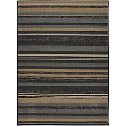 Tufted Sisal Printed Indoor/ Outdoor Grey Stripes Rug (5' x 7')