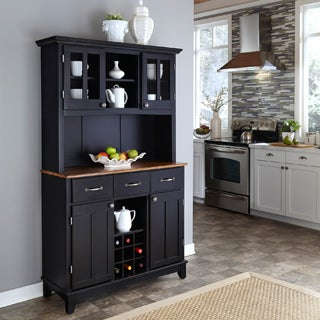 Black Hutch Buffet with Wood Top