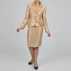 Signature by Larry Levine Women's Iridescent Gold Peplum Shimmer Skirt Suit