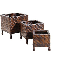Wicker Patio Furniture Planter Stands (Set of 3)
