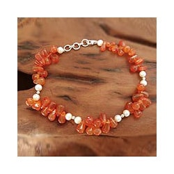 Carnelian 'Ginger Glow' Pearl Anklet (5-5.5 mm) (India)