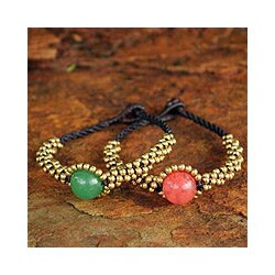 Set of 2 Brass 'Planet Spring' Quartz Wristband Bracelets (Thailand)