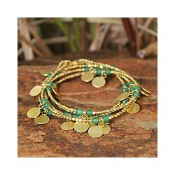 Gold Overlay 'Verdant Suns' Garnet Wrap Bracelet (Thailand)