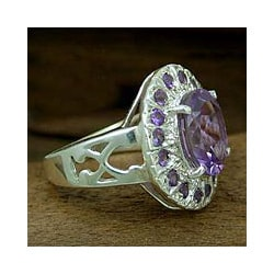 Sterling Silver 'Circle of Light' Amethyst Cocktail Ring (India)