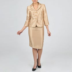 Signature by Larry Levine Women's Iridescent Shimmer Skirt Suit