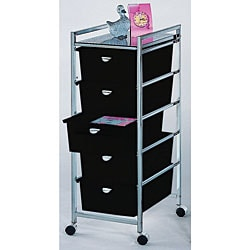 Chrome/ Black Organizer with 5 Drawers