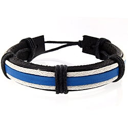 West Coast Jewelry Handmade Black, Blue and White Leather Cuff Wristband