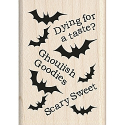 Inkadinkado Halloween Mounted Rubber Stamp-Ghoulish Pattern