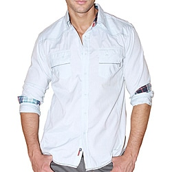 191 Unlimited Men's 'Panic' Blue Textured Cotton-blend Shirt