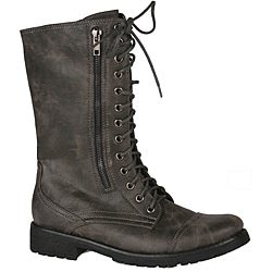 Neway by Beston Women&#39;s &#39;legend-08&#39; Grey Combat Boots
