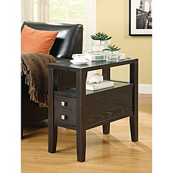 Cappuccino Finish Chair Side End Table with Drawer